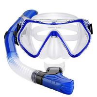 One Piece Adult Diving Mask and Full Dry Snorkel Breathing Tube Set Manufactures