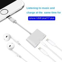 China White Apple 2 In 1 Headphone Adapter , Iphone 8 Plus Headphone Splitter on sale