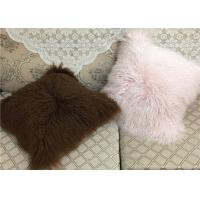 20 Inch Square White Fuzzy Pillow Cover , Soft Mongolian Fur Lumbar Pillow  Manufactures