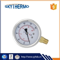 China different dial size oil filled bottom ss type bourdon type safety pressure gauge manometer on sale