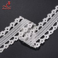 China Stretch Border Water Soluble Lace Trim / White Lace Ribbon 4.5cm Width on sale