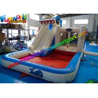 Quality Shark Outdoor Inflatable Water Slides , Air Combo Bouncer With Water Pool for sale