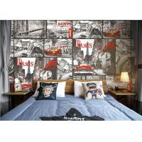 Paris Themed Wallpaper For Bedroom / Removable Boys Room Wallpaper Manufactures