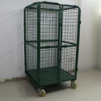 China Foldable 4 Door Metal Mesh Cage Trolley / Roll Cage Trolley 500kg Loading Capacity on sale