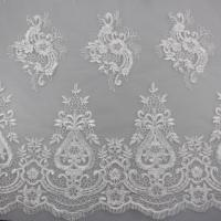 3D Eyelash Polyester Yarn On Nylon Mesh Corded Embroidery Lace Fabric For Bridal Manufactures