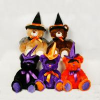 Black and Orange Halloween Teddy Bear Stuffed Toys For Halloween Party Manufactures