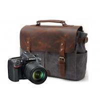 CL-900 Gray Classical Design Waxed Canvas and Leather Camera Bag Manufactures