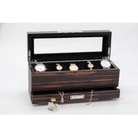 wooden jewelry box with drawer, jewlery organizer, top tray for watches, with glass window at top Manufactures