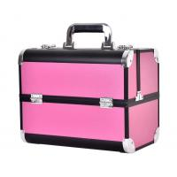 Large Aluminum Beauty Case With Plastic Trays Inside ABS Anodize Material / Aluminum Makeup Box Manufactures