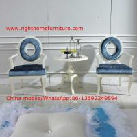 Leisure fabric with white painting solid wood chair in Neoclassical design and cocktail end table Manufactures