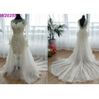 China Detached Train A Line Ball Gown Wedding Dress Floor Length Embroidery Decoration on sale