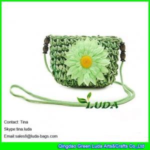 China LUDA Women Crochet Sling Shoulder Handbag Cross Body Beach straw Bag Summer Purse on sale