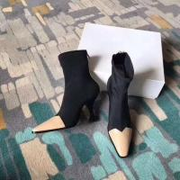 Casual dress shoes with zip Fashionable lady boots 2 colors patchwork boots thin and high heel elegant women boots Manufactures