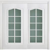 White Double Lacquer Interior Doors with Glass Corridor Thickness 45mm/40mm Manufactures