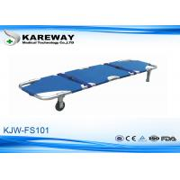 Blue Emergency Folding Stretcher With 2 Straps , Patient Transport Trolley For Construction Site Manufactures