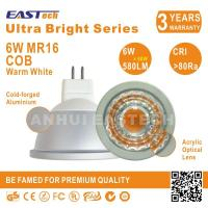 Quality China Ultra Bright G5.3 MR16 LED Ceiling Spot Light 6W COB 580LM CRI80 Warm White for sale