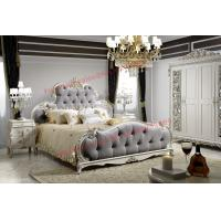 Luxury Upholstery Fabric Headboard Padding with Solid Wood Bed in Ivory White Painting Manufactures