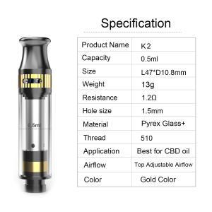 CBD tank K2 cartridge 0.5ml tank capacity adjustable airflow ceramic coil pyrex glass and metal material gold color Manufactures