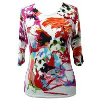China Flower Full Prined Viscose Womns Knit Ssweater With Anti-Pilling on sale