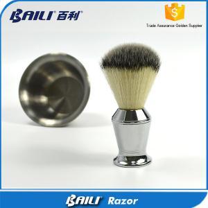China 60mm Hair Height Mans Soft Shaving Nylon Hair Brush Metal Handle on sale