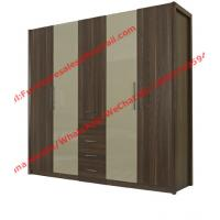 Quality Bedroom wardrobe closet in MDF melamine with inner cloth racks and storage drawer for sale