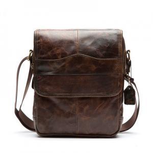 Cotton Lining Leisure Leather Shoulder Bag For Umbrella 22L * 7.5W * 27H Size Manufactures