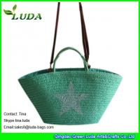 China LUDA large straw beach totes wheat straw braided lady straw  wholesale handbags on sale