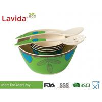 Reusable Melamine Salad Bowl Set Environmental Friendly With Serving Fork Spoon Manufactures