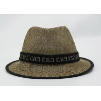 Quality Summer Man Straw Fishing Bucket Hat Cap Brown 58cm With Ribbon for sale