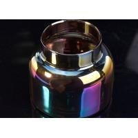Polished Sprayed Rainbow Glass Candlestick Holders , Color Glass Candle Jars