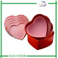 China Red Heart Chocolate Gift Boxes Hand Made Foil Stamp Grey Chip Cardboard on sale