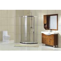 Bright Silver  Round Shower Cubicles One Moving Door for Home / Hotel Manufactures