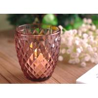 Beautiful Colored Glass Votive Candle Holders With Diamond Embossed Pattern Manufactures