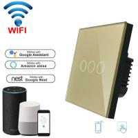China Wireless Wifi Touch switch 220v Wall Light Switch EU standard home automation WiFi switch Mobile APP Control on sale