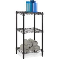 China Office Commercial Wire Shelving Towel Toiletries Carbon Steel Black Epoxy Storage Table on sale