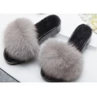 Light Grey Genuine Fur Furry House Slippers Soft For Indoor / Ourdoor Manufactures