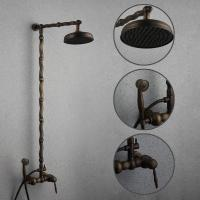 China Antique Brass Single Handle Three Holes Wall Mount Rainfall + Handheld Shower Faucet TSA006 on sale