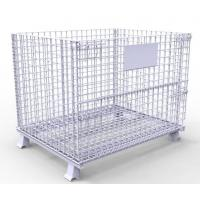 Heavy duty galvanized wire metal storage cage folding wire mesh container for stacking storage Manufactures