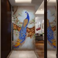 India Peacock Design Handmade Tile Murals Mosaic Wall Art Mural Customized Manufactures