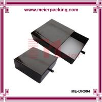 Black gift paper drawer box with leather tie, gift packaging box for tea ME-DR004 Manufactures