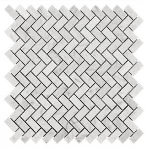 China Carrara White Marble Herringbone Mosaic Floor Tile Sheets , Mosaic Marble Tile Backsplash on sale