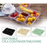 China Disposable corn starch plates biodegradable corn starch food container, Disposable PLA Serving Divided Lunch Tray on sale