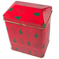 China Red Printed Empty Gift Tins With Cover , House-Shaped Tin Jar on sale