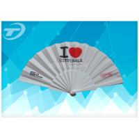 China Customized Plastic Folding Fan With Fabric ,  Size 23cm Hand Held Folding Fans on sale