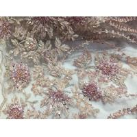 47 Inch Pink Embroidered Heavy Beaded Lace Fabric By The Yard With Scalloped Edge Manufactures