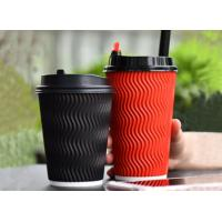 Three Layers Vertical Ripple Disposable Paper Cups Black Red Color 8oz 12oz Manufactures
