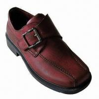 China Children's School Shoes for Boys, Slip-on Style with Leather Upper and Soft Lining on sale