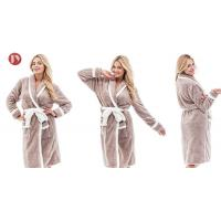 China Plush Woman Long Kimono Style Night Bathrobe , Trendy Ladies Pyjamas Customized Fabric Weight on sale