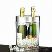 Wine Cooler with Stainless Steel 18/0 Top Rim, Transparent, Elegant, and Solid Manufactures