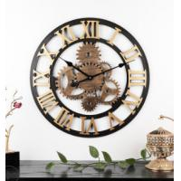 China 60cm Rustic Country Tuscan Style 3D decoration gear wooden vintage hot Selling retro clock Wall Clock on sale